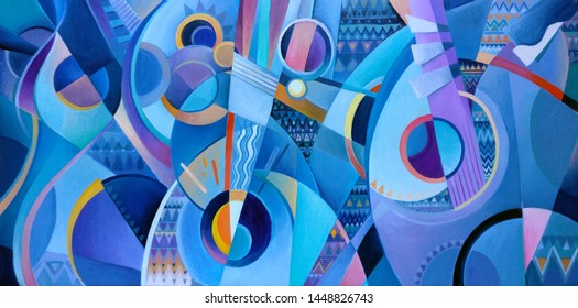 abstract composition of musical instruments, oil painting, stylized musical instruments, blue, cool colors, music, decorative, original painting