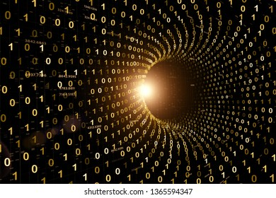 Abstract computer data travel through shiny cyberspace gold colored tunnel with binary numbers. 3d Illustration background.