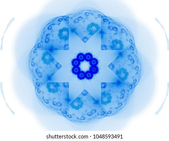 An abstract computer generated modern fractal design on white background. Abstract fractal color texture.  Abstract fractal element pattern for your design. Bright marine flower star. Beautiful abstra