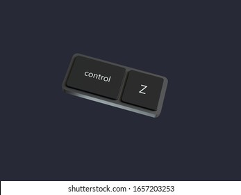 abstract computer keyboard control and z button black scene 3d rendering