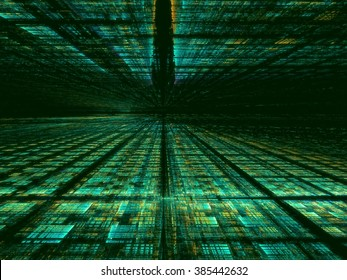 Abstract computer-generated green technology background with the horizon, grid and perspective. Fractal background for web-design, posters, covers.