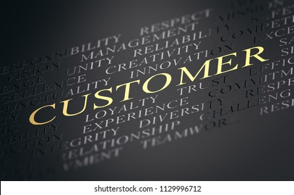 Abstract Concept. Black text with the word customer witten in golden letters. 3D illustration