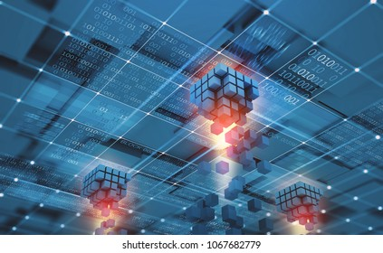 Abstract concept Blockchain network. Fintech technology. Global protection and data transmission. 3D illustration on a technological background with binary code elements
