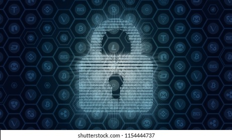 Abstract concept of crypto currencies token security. Binary numbers form up a shape of glowing motion moving pad lock on multi alt coin frame background