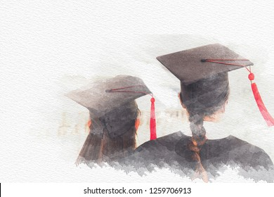 Abstract concept education congratulation in University, Graduation Ceremony with copy space on watercolor painting background - illustration
