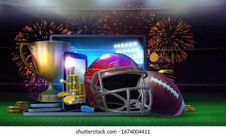 Abstract concept image of profitable online betting on the outcome of an American football game. 3D Rendered illustration