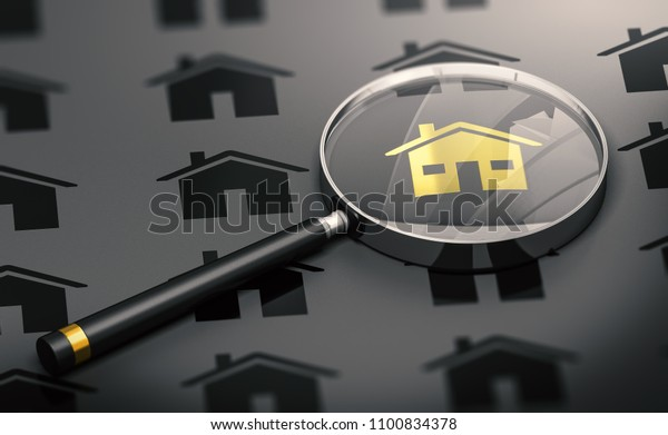 Abstract Concept. Many black properties and one golden house standing out from the crowd and a magnifying glass. 3D illustration