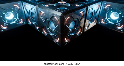 Abstract concept of sci-fi block cube. 3d illustration