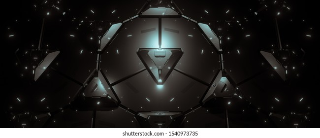 Abstract concept of sci-fi block triangle. Background for cyber crypto security. 3d illustration