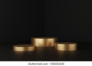 Abstract concept, three circular pedestals Placed in an empty room in black and dark tones to set up and display products on a golden podium - 3d render.