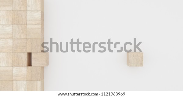 Abstract concept of wooden cubes toy isolated on white background, 3d rendering