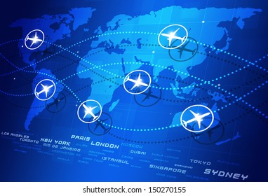 abstract concept world aviation directions blue business background