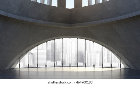Abstract concrete architecture structure with city background. 3D rendering