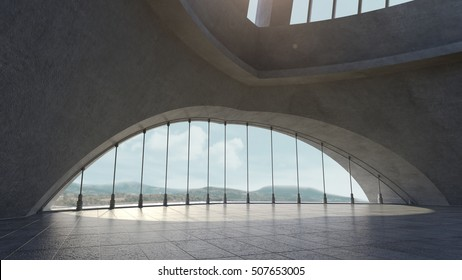 Abstract concrete architecture structure with sky background. 3D rendering