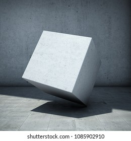 Abstract concrete cube on wall background. 3D illustration.