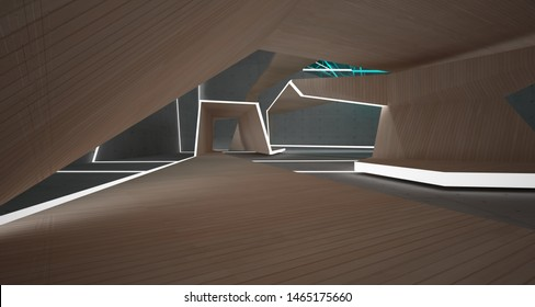 Abstract  concrete, glass and wood interior  with neon lighting. 3D illustration and rendering.