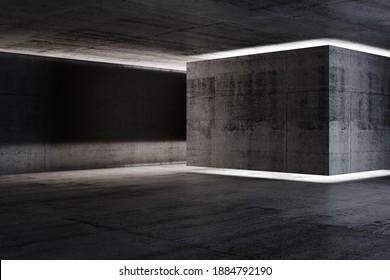 Abstract concrete interior background, dark room with neon illuminated installation, 3d rendering illustration