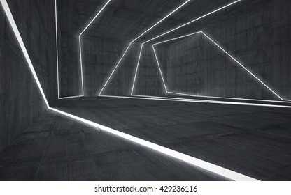 Abstract concrete interior with glowing lines. 3D illustration. 3D rendering