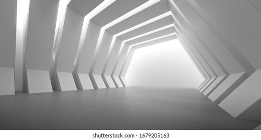 Abstract of concrete interior with the light cast shadow on the wall ,Geometric structure,Perspective of brutalism  architecture,Museum space design. 3d rendering.