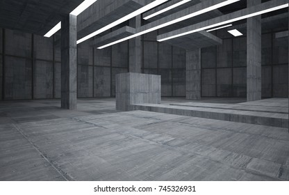 Abstract  concrete interior multilevel public space with neon lighting. 3D illustration and rendering.