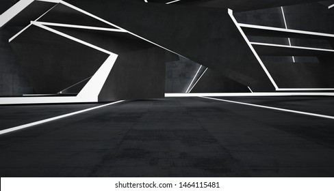 Abstract  concrete interior with neon lighting. 3D illustration and rendering.