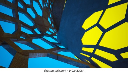 Abstract Concrete and Rusty Metal Futuristic Sci-Fi interior With Blue And Yellow Glowing Neon Tubes . 3D illustration and rendering.