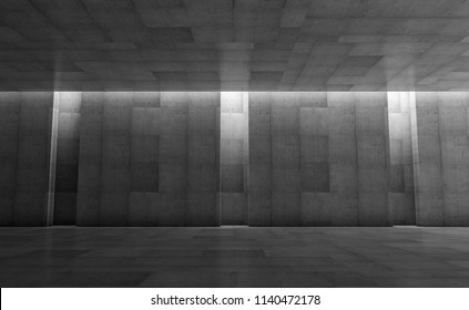 Abstract concrete showroom with columns. Modern geometric design. Gray floor and wall background. 3d rendering