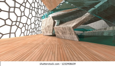 Abstract  concrete and wood interior  with window. 3D illustration and rendering.