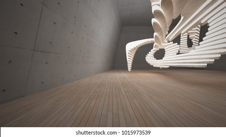 Abstract  concrete and wood parametric interior  with neon lighting. 3D illustration and rendering.