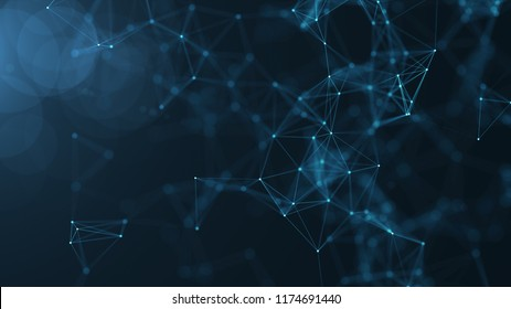 Abstract connected dots and lines on blue background. Communication and technology network concept with moving lines and dots .Seamless loop.4K