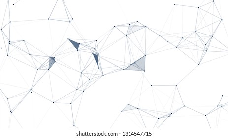 Abstract connected dots and lines on white background. Communication and technology network concept with moving lines and dots.
