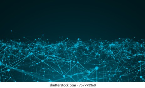 Abstract connection dots. Technology background. Digital drawing blue theme. Network concept 3d rendered