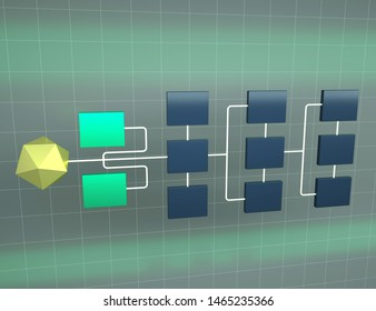 Abstract connection network 3d illustration. Structure of network topology. Concept of hierarchy
