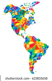 Abstract continents of North and South America from triangles. Origami style. Polygonal pattern for your design.