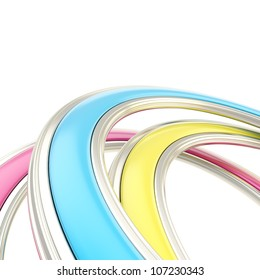 Abstract copyspace background made of cmyk colored curved arch on white