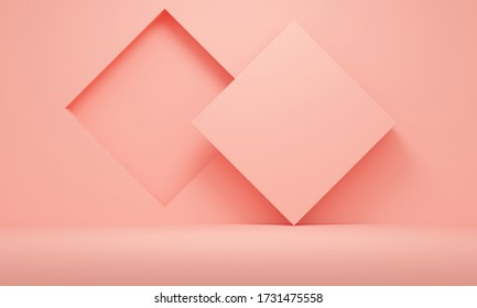 Abstract coral background with rhombus niche. Backdrop design for product promotion. 3d rendering