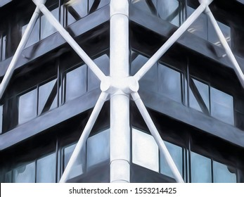 Abstract corner of downtown office building with white exoskeleton, with digital painting effect and canvas texture, for architectural and urban themes