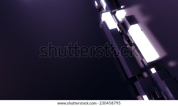 abstract corner geometry with chaotic reflective and luminance formes