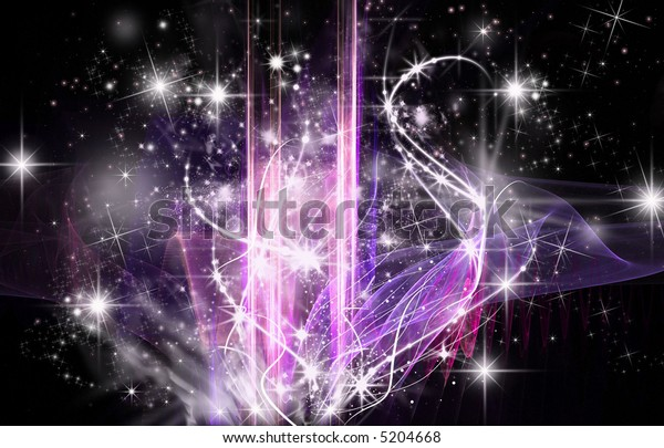 Abstract Cosmic background with stars and sparkles