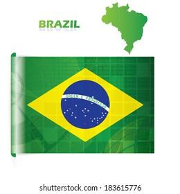 Abstract creative Brazil flag modern design