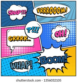 Abstract creative concept comic pop art style blank, layout template with clouds beams and isolated dots background. For sale banner, empty speech bubble set, illustration halftone book design.
