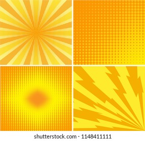 Abstract creative concept comics pop art style blank layout template with rays and dots pattern on background. For Web and Mobile Applications, illustration template design