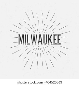 Abstract Creative concept design layout with text - Milwaukee. For web and mobile icon isolated on background, art template, retro elements, logos, identity, labels, badge, ink, tag, old card.