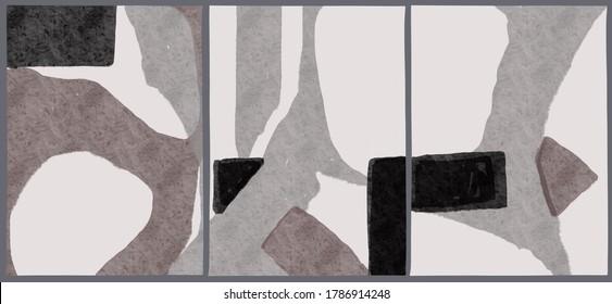 Abstrakte, universelle künstlerische Vorlagen. Reihe von Illustrationen für Wandkunst, Plakate