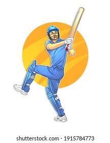 An abstract cricketer illustration, batsman