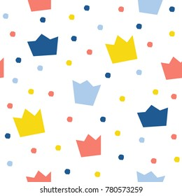 Abstract crown seamless pattern background. Childish wallpaper for design card, wallpaper, album, scrapbook, holiday wrapping paper, textile fabric, bag print, t shirt etc.
