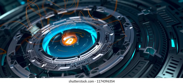 Abstract crypto cyber security technology on global network background. Digital theme. 3d render