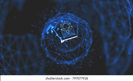 Abstract crypto cyber security technology on global network background. Digital theme. 3D illustration