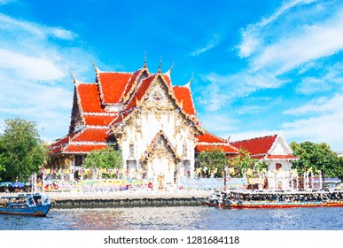 Abstract crystal effect  background,   Temple in sunny day, bangkok Thailand.  panorama view with blue sky, trees, river and building, landmark in thailand near river side.