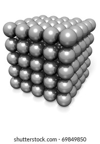 abstract cube made with silver metallic spheres. Conceptual illustration
